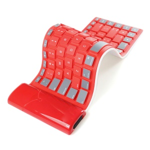 Bluetooth Wireless Roll-Up Silicone Keyboard for iPad Tablet - Red