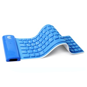 Bluetooth Wireless Roll-Up Silicone Keyboard for iPad Tablet - Blue