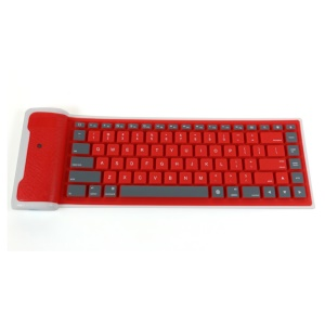 87-key Roll-Up Flexible Silicone Bluetooth 3.0 Keyboard for iPad Tablet - Red