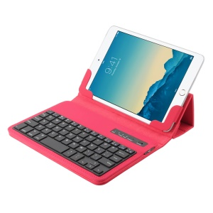 Detachable Leather Flip Cover Bluetooth Keyboard with Stand for 7-8 inch Tablet PC - Red