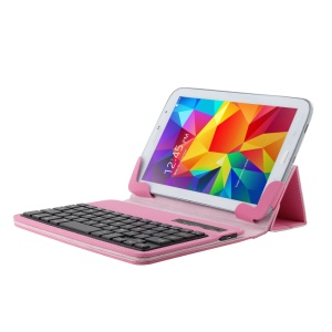 Detachable Stand Leather Flip Shell Bluetooth Keyboard for 7-8 inch Tablet PC - Pink