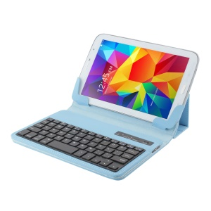 Detachable Bluetooth Keyboard Leather Stand Case for 7-8 inch Tablet PC - Blue