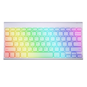 Ultra-thin Wireless Bluetooth Keyboard with Colorful LED Backlight for iOS Android Windows - White