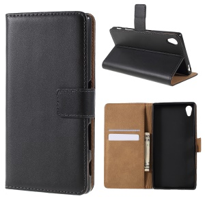Genuine Split Leather Wallet Case for Sony Xperia Z5 / Z5 Dual - Black