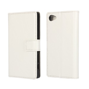 Crazy Horse Leather Case with Stand Card Slots for Sony Xperia Z5 Compact - White