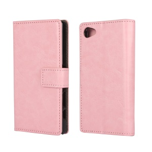 Crazy Horse PU Leather Case Card Holder for Sony Xperia Z5 Compact - Pink
