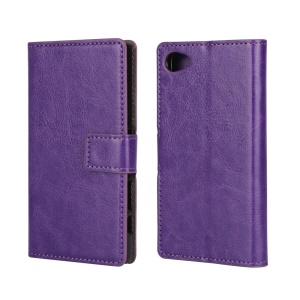 Crazy Horse Flip Leather Stand Case Cover for Sony Xperia Z5 Compact - Purple