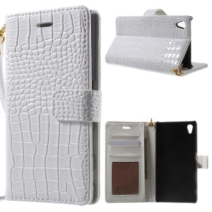 Textura De Crocodilo Flip Leather Wallet Cover For Sony Xperia Z5 / Z5 Dual - Branco