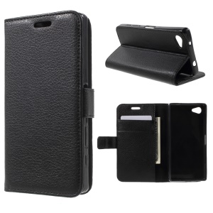 Litchi Grain Wallet Stand Leather Case for Sony Xperia Z5 Compact - Black