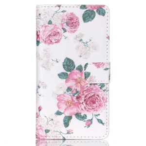 PU Leather Wallet Case for Sony Xperia M4 Aqua / Dual - Fresh Flowers