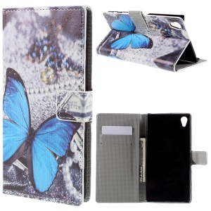 PU Leather Phone Case for Sony Xperia Z5 Premium / Premium dual - Blue Butterfly