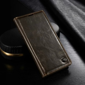 CASEME Oil Wax Wallet Leather Protective Stand Case for Sony Xperia Z3+ / Z3+ Dual - Brown
