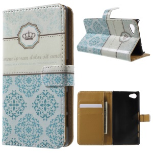 Patterned Flip Wallet Leather Phone Case for Sony Xperia Z5 Compact - Crown and Flower