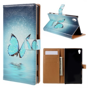 Patterned Wallet Leather Stand Cover for Sony Xperia Z5 / Z5 Dual - Blue Butterfly