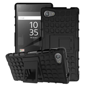 Two Pieces Anti-slip PC + TPU Hybrid Case for Sony Xperia Z5 Compact - Black