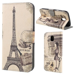 Pattern Printing Stand Card Slots Leather Cover for Samsung Galaxy J5 (2017) EU Version - Voyage Paris