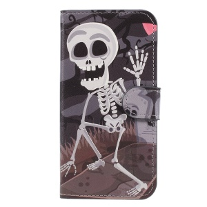 Pattern Printing Leather Card Holder Cell Phone Cover for Samsung Galaxy J5 (2017) EU Version - Skulls