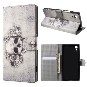 For Sony Xperia XA1 Pattern Printing Wallet Stand PU Leather Cover - Skull and Roses