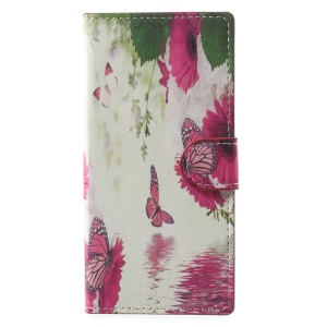 Pattern Printing Wallet Stand PU Leather Mobile Cover for Sony Xperia XA1 - Rose Butterflies