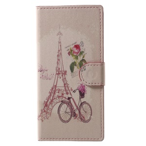 Pattern Printing Stand Leather Wallet Case for Sony Xperia XA1 - Eiffel Tower and Bicycle