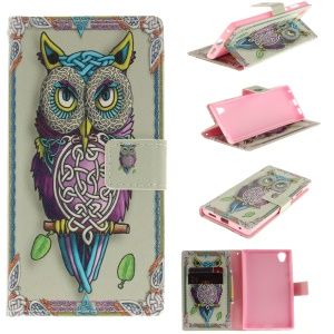 Patterned PU Leather Wallet Stand Protective Phone Shell with Magnet for Sony Xperia L1 - Owl