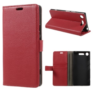 Litchi Grain Leather Wallet Phone Protective Cover with Stand for Sony Xperia XZ1 - Red