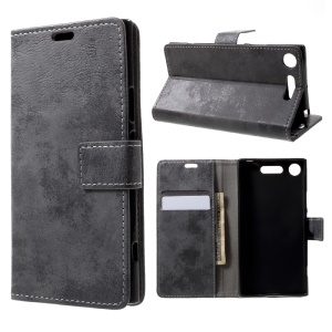 Retro Card Slots Leather Cover Case with Stand for Sony Xperia XZ1 - Black
