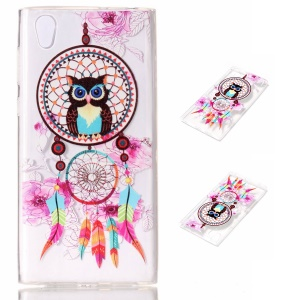 Embossing Pattern Soft TPU Jelly Case for Sony Xperia L1 - Owl Dream Catcher