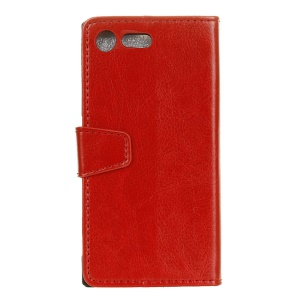 Crazy Horse Wallet Leather Stand Cover for Sony Xperia XZ1 - Red