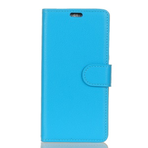 For Sony Xperia XZ1 Litchi Texture Card Holder PU Leather Mobile Cover - Blue