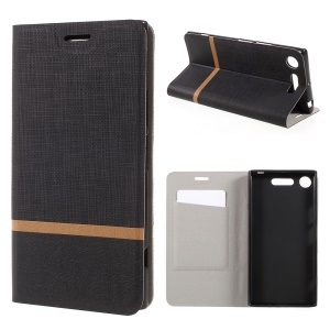 Bi-color Cross Texture Leather Stand Case for Sony Xperia XZ1 Built-in Steel Sheet - Black