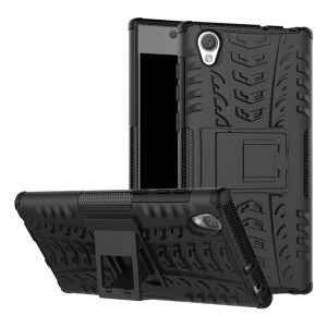 Tyre Pattern Kickstand TPU + PC 2-in-1 Hybrid Shell Cover for Sony Xperia L1 - Black