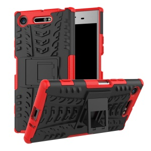 Tyre Pattern 2-in-1 TPU + PC Hybrid Mobile Protective Casing for Sony Xperia XZ1 - Red
