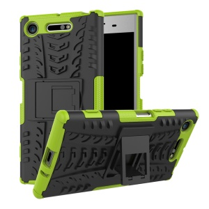 For Sony Xperia XZ1 Tyre Pattern 2-in-1 TPU + PC Hybrid Mobile Protective Casing - Green