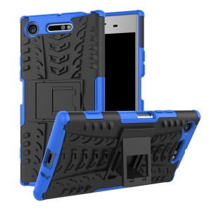 For Sony Xperia XZ1 Tyre Pattern 2-in-1 TPU + PC Hybrid Mobile Protective Case - Blue