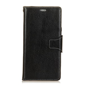 Crazy Horse Wallet Stand Genuine Leather Case for Sony Xperia XZ1 - Black