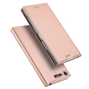 DUX DUCIS Skin Pro Series Leather Case with Card Slot for Sony Xperia XZ1 - Rose Gold