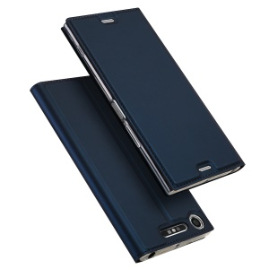 DUX DUCIS Skin Pro Series Leather Card Holder Stand Shell for Sony Xperia XZ1 - Dark Blue