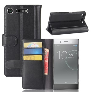 Genuine Split Leather Case with Card Slots for Sony Xperia XZ1 - Black