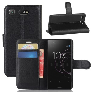 Litchi Grain Wallet Stand Leather Phone Cover for Sony Xperia XZ1 Compact - Black