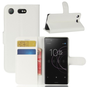 Litchi Grain Wallet Leather Stand Phone Shell for Sony Xperia XZ1 Compact - White