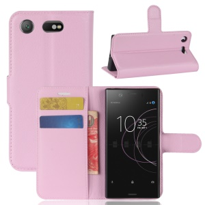 Litchi Grain Stand Leather Cell Phone Case with Stand for Sony Xperia XZ1 Compact - Pink