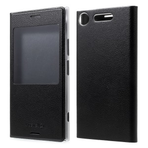 Plastic View Window Leather Phone Case for Sony Xperia XZ1 - Black