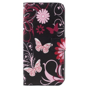 Pattern Printing Leather Wallet Stand Phone Case Shell for Sony Xperia XZ1 - Pink Butterfly