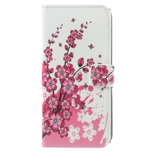 Pattern Printing Leather Wallet Stand Protection Phone Case for Sony Xperia XZ1 - Peach Blossom