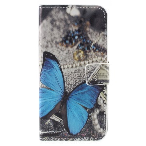 Pattern Printing PU Leather Wallet Stand Case for Sony Xperia XZ1 - Blue Butterfly