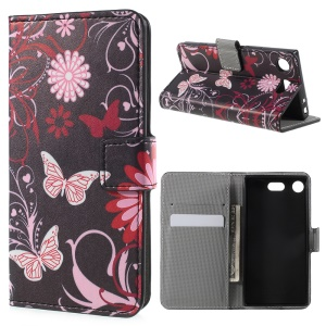 Printing Pattern Magnetic Stand Leather Wallet Mobile Phone Case for Sony Xperia XZ1 Compact - Pink Butterfly and Flower