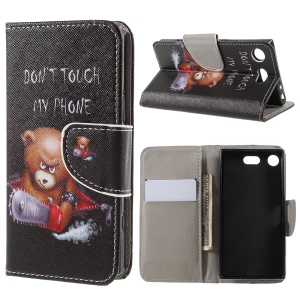 Pattern Printing Cross Texture Stand Wallet Leather Cover for Sony Xperia XZ1 Compact - Bear with Saw