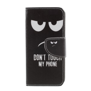 Pattern Printing Cross Texture Stand Wallet Leather Mobile Phone Cover for Sony Xperia XZ1 Compact - Angry Face