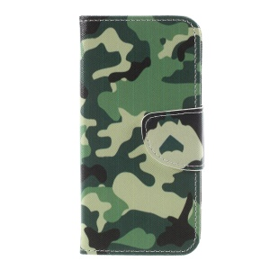 Pattern Printing Cross Texture Stand Wallet Leather Cell Phone Cover for Sony Xperia XZ1 Compact - Camouflage Cloth